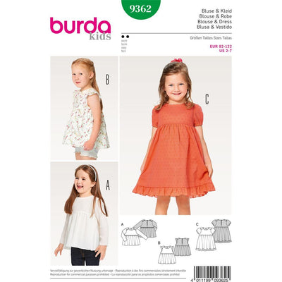 Burda Style Pattern B9362 Child Dress Blouse and Skirt 9362 Image 1 From Patternsandplains.com