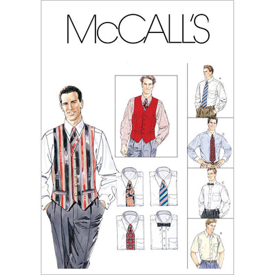 McCall's Pattern M2447 Mens Lined Vest Shirt Tie In Two Lengths and Bow Tie 2447 Image 1 From Patternsandplains.com
