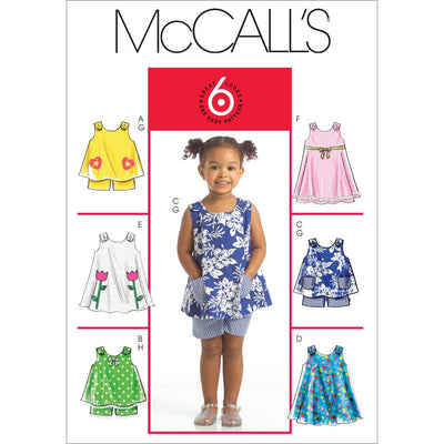 McCall's Pattern M5416 Toddlers Tops Dresses and Shorts 5416 Image 1 From Patternsandplains.com