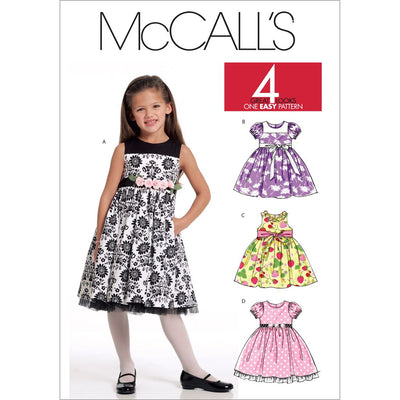 McCall's Pattern M5793 Childrens Girls Lined Dresses 5793 Image 1 From Patternsandplains.com