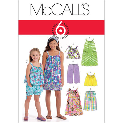 McCall's Pattern M5797 Childrens Girls Tops Dresses Shorts and Pants 5797 Image 1 From Patternsandplains.com