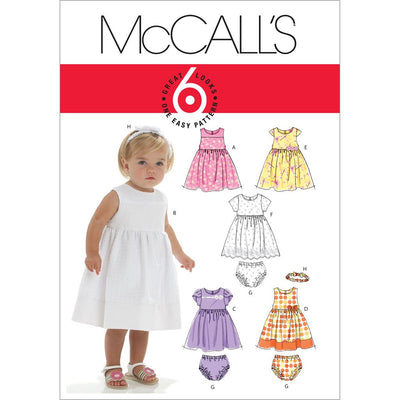 McCall's Pattern M6015 Infants Lined Dresses Panties And Headband 6015 Image 1 From Patternsandplains.com