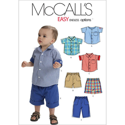 McCall's Pattern M6016 Infants Shirts Shorts And Pants 6016 Image 1 From Patternsandplains.com