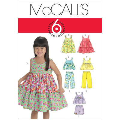 McCall's Pattern M6017 Toddlers Childrens Tops Dresses Shorts And Pants 6017 Image 1 From Patternsandplains.com
