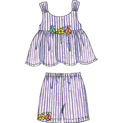 McCall's Pattern M6017 Toddlers Childrens Tops Dresses Shorts And Pants 6017 Image 7 From Patternsandplains.com.jpg