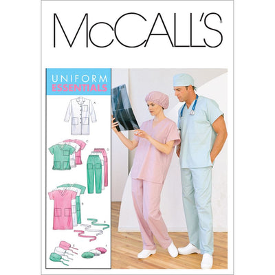 McCall's Pattern M6107 Misses Mens Lab Coat Dress Top Pull On Pants Hats and Tie Belt 6107 Image 1 From Patternsandplains.com