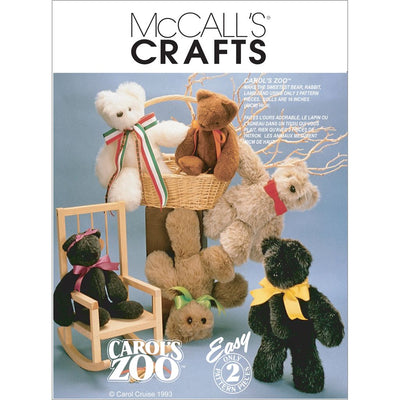 McCall's Pattern M6188 Stuffed Animals 6188 Image 1 From Patternsandplains.com