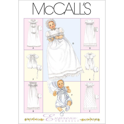 McCall's Pattern M6221 Infants Christening Gown Rompers With Snap Crotch In 2 Lengths and Bonnets 6221 Image 1 From Patternsandplains.com