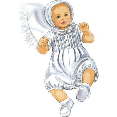 McCall's Pattern M6221 Infants Christening Gown Rompers With Snap Crotch In 2 Lengths and Bonnets 6221 Image 2 From Patternsandplains.com.jpg