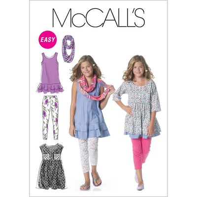 McCall's Pattern M6275 Girls Girls Plus Dresses Scarf and Leggings 6275 Image 1 From Patternsandplains.com