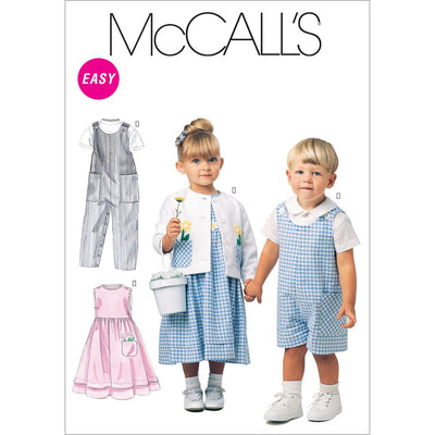 McCall's Pattern M6304 Toddlers Rompers In 2 Lengths Dress Jacket and Shirt 6304 Image 1 From Patternsandplains.com