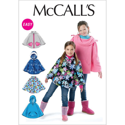 McCall's Pattern M6431 Childrens Girls Ponchos 6431 Image 1 From Patternsandplains.com