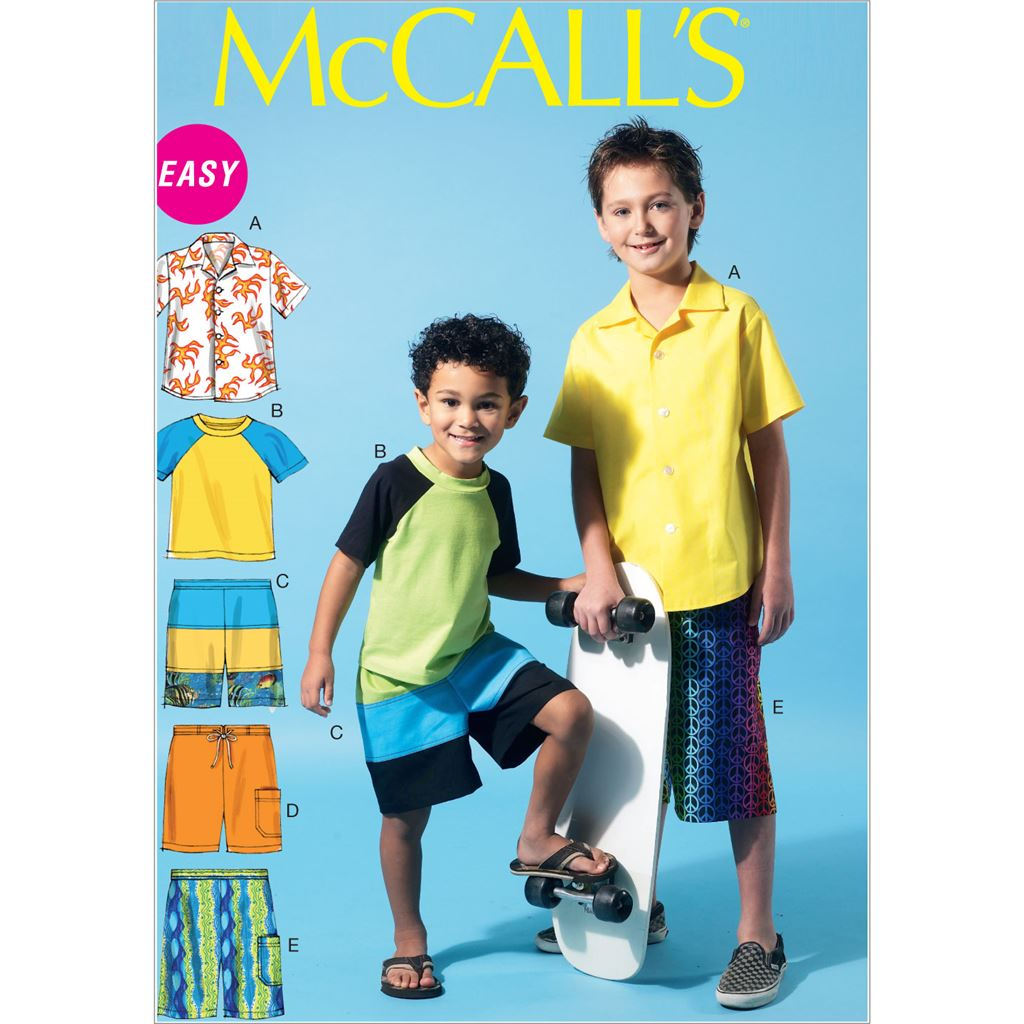 McCall's Pattern M6548 Childrens Boys Shirt Top and Shorts 6548 Image 1 From Patternsandplains.com