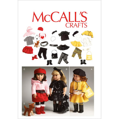McCall's Pattern M6669 Clothes For 18 Doll Accessories and Dog 6669 Image 1 From Patternsandplains.com