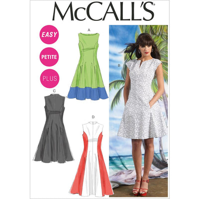 McCall's Pattern M6741 Misses Womens Petite Lined Dresses 6741 Image 1 From Patternsandplains.com