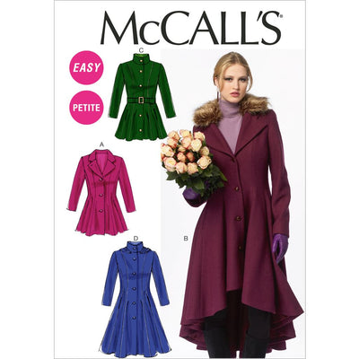 McCall's Pattern M6800 Misses Miss Petite Lined Coats Belt and Detachable Collar and Hood 6800 Image 1 From Patternsandplains.com