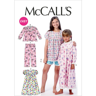 McCall's Pattern M6831 Childrens Girls Tops Gowns Short and Pants 6831 Image 1 From Patternsandplains.com