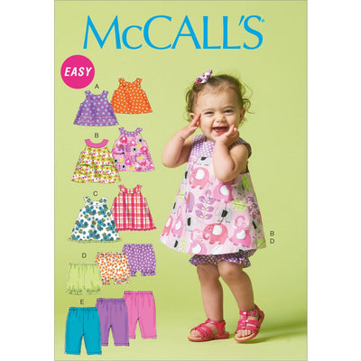 McCall's Pattern M6912 Infants Reversible Top Dresses; Bloomers and Pants 6912 Image 1 From Patternsandplains.com