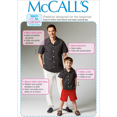 McCall's Pattern M6972 Mens Boys Shirt Shorts and Pants 6972 Image 1 From Patternsandplains.com
