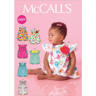 McCall's Pattern M7107 Infants Rompers 7107 Image 1 From Patternsandplains.com