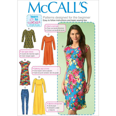 McCall's Pattern M7122 Misses Tunic Dresses and Leggings 7122 Image 1 From Patternsandplains.com