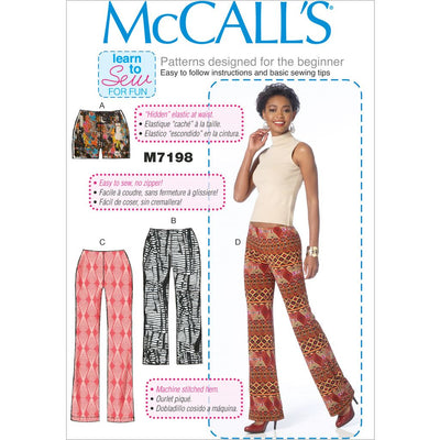 McCall's Pattern M7198 Misses Shorts and Pants 7198 Image 1 From Patternsandplains.com