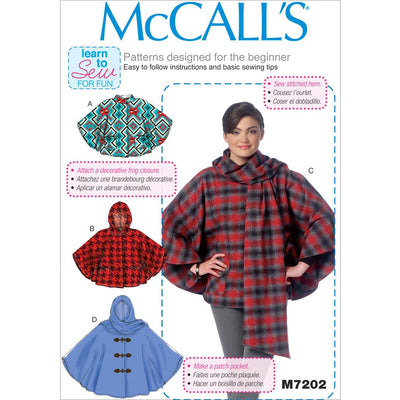 McCall's Pattern M7202 Misses Ponchos 7202 Image 1 From Patternsandplains.com