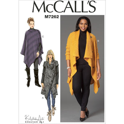 McCall's Pattern M7262 Misses Womens Sweater Coat and Poncho 7262 Image 1 From Patternsandplains.com