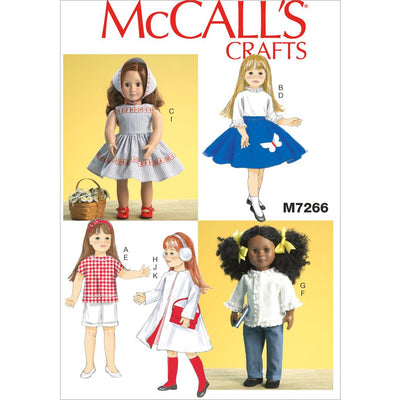 McCall's Pattern M7266 18 Retro Doll Clothes 7266 Image 1 From Patternsandplains.com
