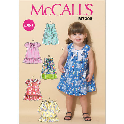 McCall's Pattern M7308 Toddlers Tent Dresses 7308 Image 1 From Patternsandplains.com