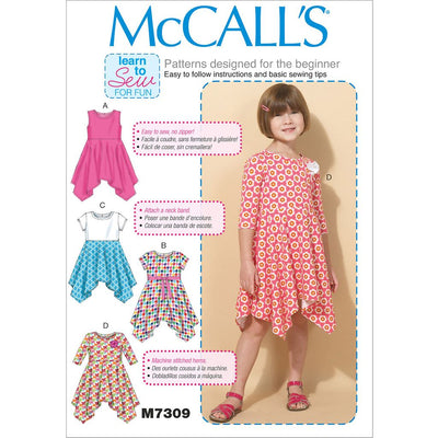 McCall's Pattern M7309 Childrens Girls Handkerchief Hem Dresses 7309 Image 1 From Patternsandplains.com