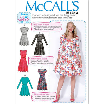 McCall's Pattern M7313 Misses Womens Flared Dresses 7313 Image 1 From Patternsandplains.com