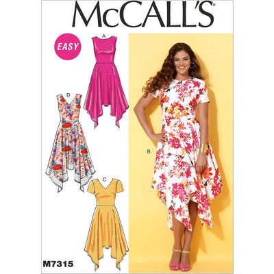 McCall's Pattern M7315 Misses Handkerchief Hem Dresses 7315 Image 1 From Patternsandplains.com
