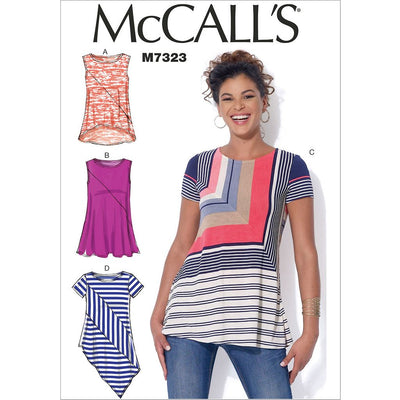 McCall's Pattern M7323 Misses Asymmetrical Seam Detail Tops 7323 Image 1 From Patternsandplains.com