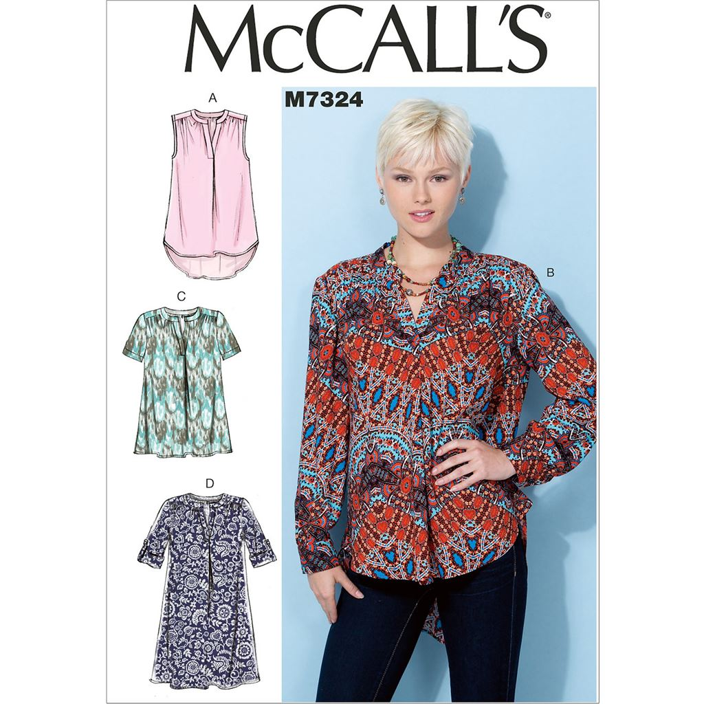 McCall's Pattern M7324 Misses Half Placket Tops and Tunic 7324 Image 1 From Patternsandplains.com