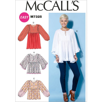 McCall's Pattern M7325 Misses Gathered Tops and Tunic 7325 Image 1 From Patternsandplains.com