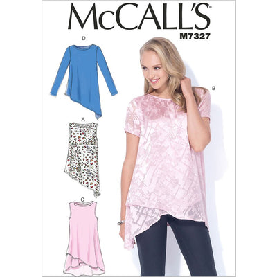 McCall's Pattern M7327 Misses Shaped Hemline Tops 7327 Image 1 From Patternsandplains.com
