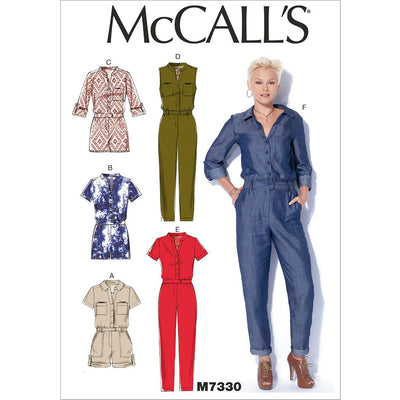 McCall's Pattern M7330 Misses Button Up Rompers and Jumpsuits 7330 Image 1 From Patternsandplains.com