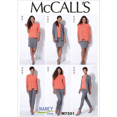 McCall's Pattern M7331 Misses Cardigan T Shirt Pencil Skirt and Leggings 7331 Image 1 From Patternsandplains.com