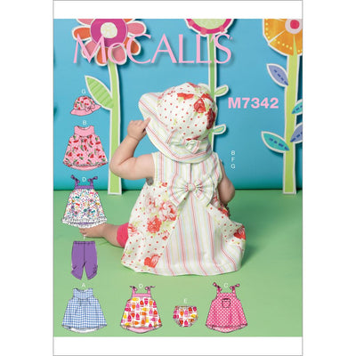 McCall's Pattern M7342 Infants Back Bow Dresses Panties Leggings and Bucket Hat 7342 Image 1 From Patternsandplains.com