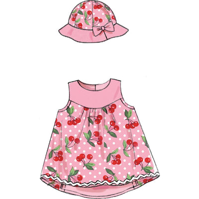McCall's Pattern M7342 Infants Back Bow Dresses Panties Leggings and Bucket Hat 7342 Image 4 From Patternsandplains.com.jpg
