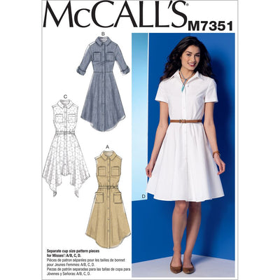 McCall's Pattern M7351 Misses Shirtdresses with Pockets and Belt 7351 Image 1 From Patternsandplains.com