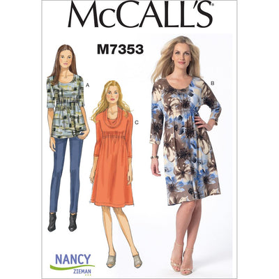 McCall's Pattern M7353 Misses Raised Elastic Waist Top and Dresses 7353 Image 1 From Patternsandplains.com