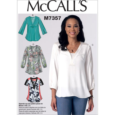 McCall's Pattern M7357 Misses Banded Tops with Yoke 7357 Image 1 From Patternsandplains.com