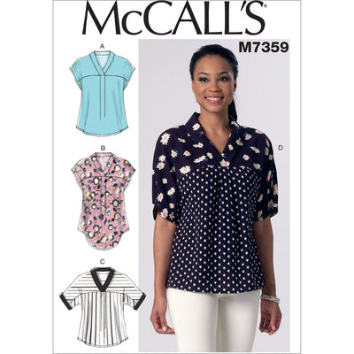 McCall's Pattern M7359 Misses V Neck Dolman Sleeve Tops 7359 Image 1 From Patternsandplains.com