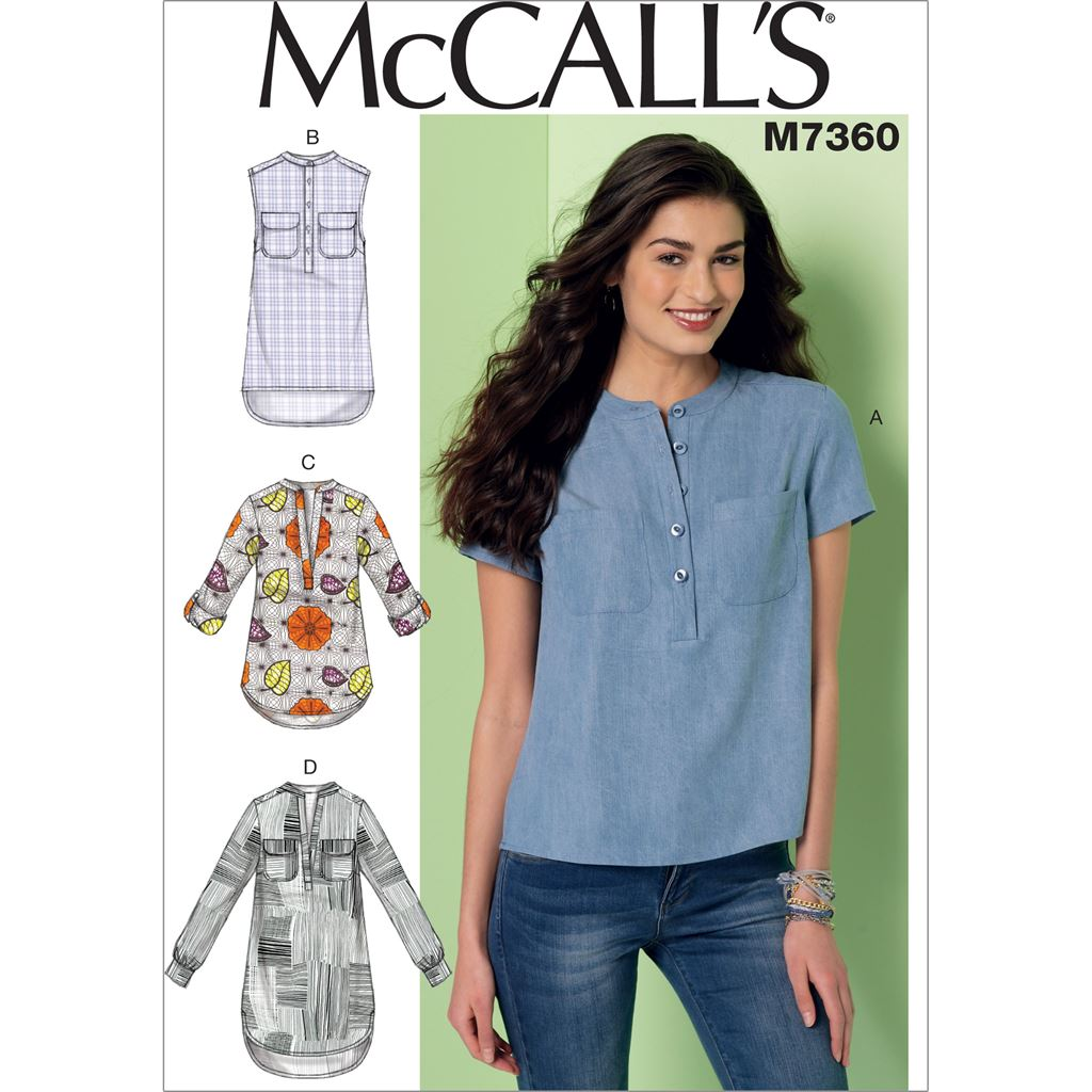 McCall's Pattern M7360 Misses Henley Tops 7360 Image 1 From Patternsandplains.com