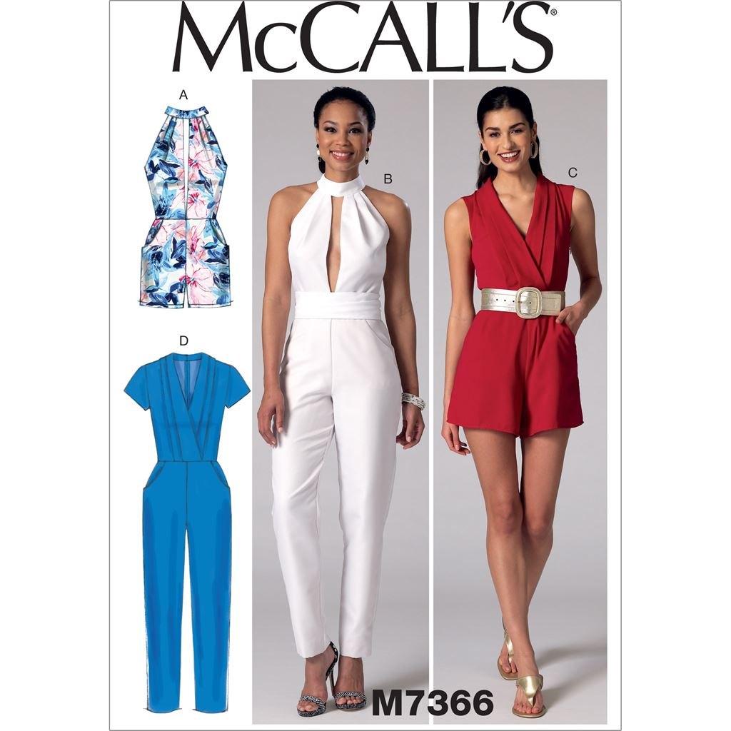 eebc1e95ce1 McCall s Pattern M7366 Misses Pleated Surplice or Plunging Neckline Rompers  Jumpsuits and Belt 7366 Image 1