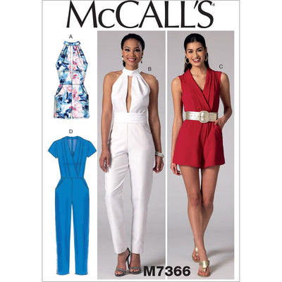 McCall's Pattern M7366 Misses Pleated Surplice or Plunging Neckline Rompers Jumpsuits and Belt 7366 Image 1 From Patternsandplains.com