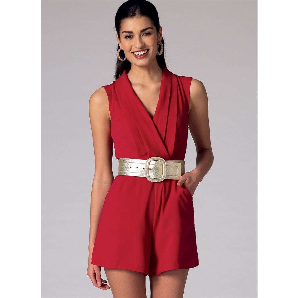 ef1a5522fcf McCall s Pattern M7366 Misses Pleated Surplice or Plunging Neckline Rompers  Jumpsuits and Belt 7366 Image 3