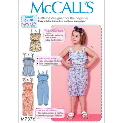 McCall's Pattern M7376 Childrens Girls Blouson Bodice Rompers and Jumpsuits 7376 Image 1 From Patternsandplains.com